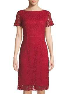 Lafayette 148 Short-Sleeve Lace Sheath Dress