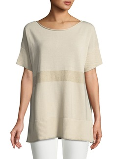 Lafayette 148 Short-Sleeve Sequin-Striped Sweater