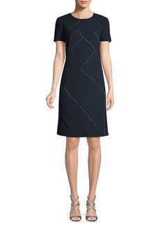 Lafayette 148 Short-Sleeve Wool Mini Dress