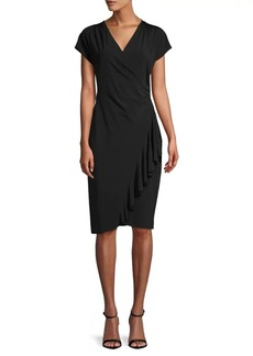 Lafayette 148 Side Ruffle Knee-Length Dress