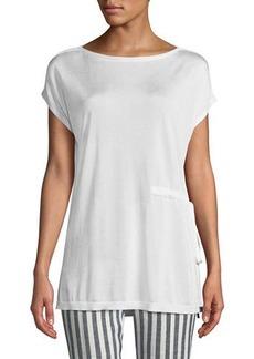 Lafayette 148 Side-Tie Short-Sleeve Sweater