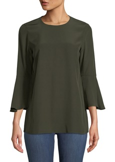 Lafayette 148 Sidra Bell-Sleeve Luxe Charmeuse Silk Blouse
