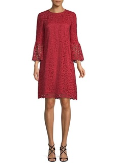 Lafayette 148 Sidra Lace Bell-Sleeve Shift Dress