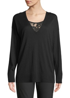 Lafayette 148 Silk-Cashmere V-Neck Lace-Inset Sweater