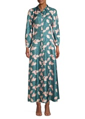 Lafayette 148 Siya Floral Silk Maxi Shirt Dress