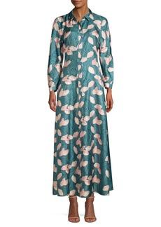 Lafayette 148 Siya Floral Silk Maxi Shirtdress