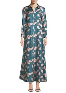 Lafayette 148 Siya Long-Sleeve Button-Front Graphic Floral Silk Dress