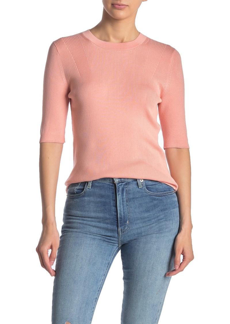 Lafayette 148 Skinny Rib Knit 3/4 Sleeve Sweater