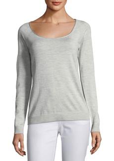 Lafayette 148 Skinny Scoop-Neck Silk-Blend Sweater