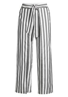Lafayette 148 Skyline Oxford Stripe Tie-Waist Cropped Wide-Leg Pants