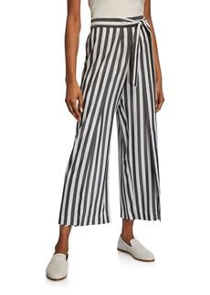 Lafayette 148 Skyline Showcase-Stripe Cropped Wide-Leg Silk Pants
