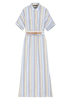 Lafayette 148 Skyscraper Stripe Belted Linen Maxi Shirtdress