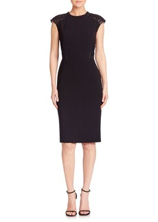 Lafayette 148 Sleek Tech Cloth Lace Inset Talon Dress
