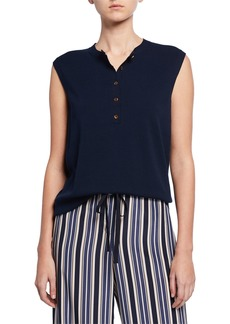Lafayette 148 Sleeveless Cotton Crepe Henley