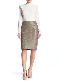 Lafayette 148 Snakeskin Print Modern Leather Slim Skirt