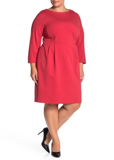 Lafayette 148 Solid 3/4 Dolman Sleeve Sheath Dress (Plus Size)