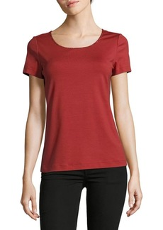 Lafayette 148 Solid Scoopneck Cotton-Blend Tee