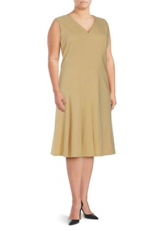 Lafayette 148 Plus Solid V-Neck Dress