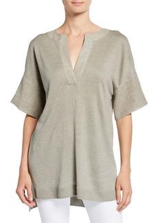 Lafayette 148 Split-Neck Elbow-Sleeve Linen Sweater