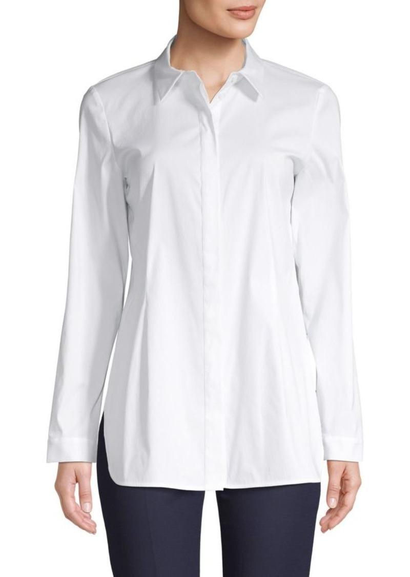 Lafayette 148 Spread-Collar Cotton-Blend Shirt