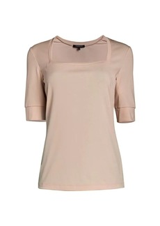 Lafayette 148 Stretch Elbow-Sleeve Top