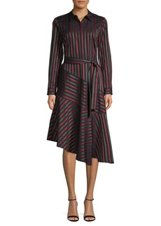 Lafayette 148 Stripe Asymmetrical Shirtdress
