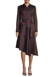 Lafayette 148 Stripe Asymmetrical Shirtdress