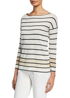 Lafayette 148 Striped Boat-Neck Sweater with Sheer Hem