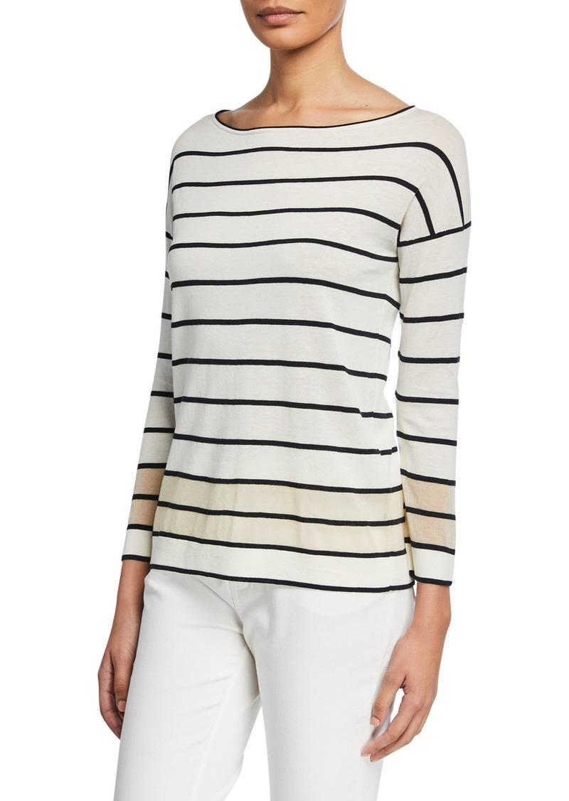 Lafayette 148 Striped Boat-Neck Sweater with Sheer Hem