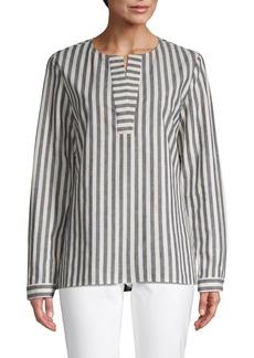 Lafayette 148 Striped Cotton & Linen Blend Top