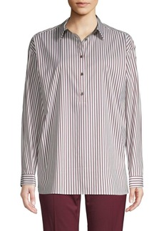Lafayette 148 Striped Cotton Blend Blouse