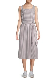 Lafayette 148 Striped Cotton Blend Fit-&-Flare Dress