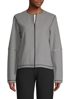 Lafayette 148 Striped Cotton-Blend Jacket