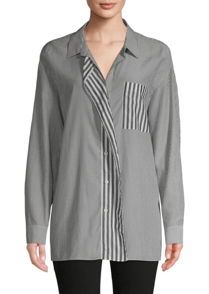 Lafayette 148 Striped Cotton-Blend Shirt