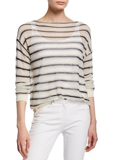 Lafayette 148 Striped Finespun Voile Bateau-Neck Long-Sleeve Pullover