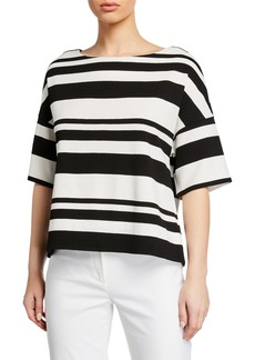 Lafayette 148 Striped Half-Sleeve Pullover