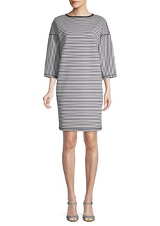 Lafayette 148 Striped Three-Quarter Sleeve Shift Dress