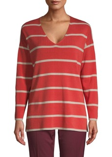 Lafayette 148 Striped V-Neck Sweater