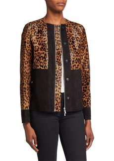 Lafayette 148 Suki Zip-Front Suede & Leopard-Print Calf Hair Jacket