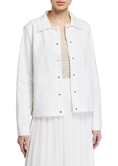 Lafayette 148 Suri Button-Front Jacket w/ Patch Pockets