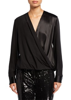 Lafayette 148 Surplice Long-Sleeve Matte Silk Blouse
