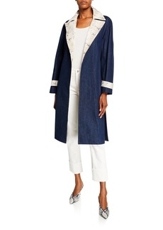 Lafayette 148 Tandra Denim Snake Skin Trench Coat