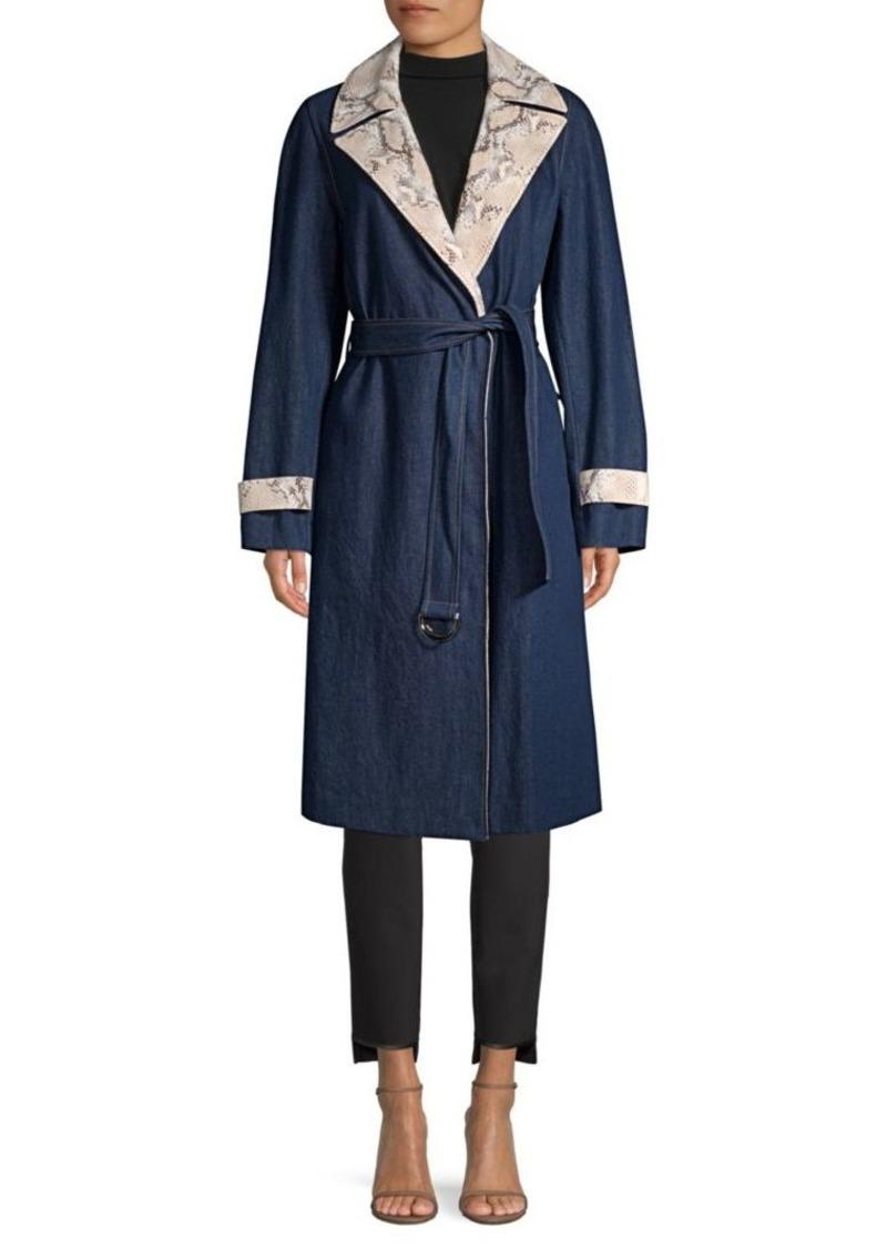 Lafayette 148 Tandra Denim Trench Coat