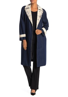 Lafayette 148 Tandra Snake Print Collar Denim Trench Coat