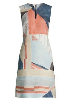 Lafayette 148 Taren Abstract Sleeveless Linen Dress