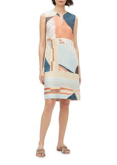 Lafayette 148 Taren Geometric Sleeveless Linen Dress