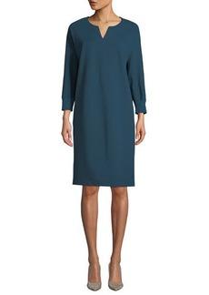 Lafayette 148 Thoren Shift Dress with Knit Trim