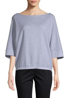 Lafayette 148 Three-Quarter Sleeve Ribbed Sweater