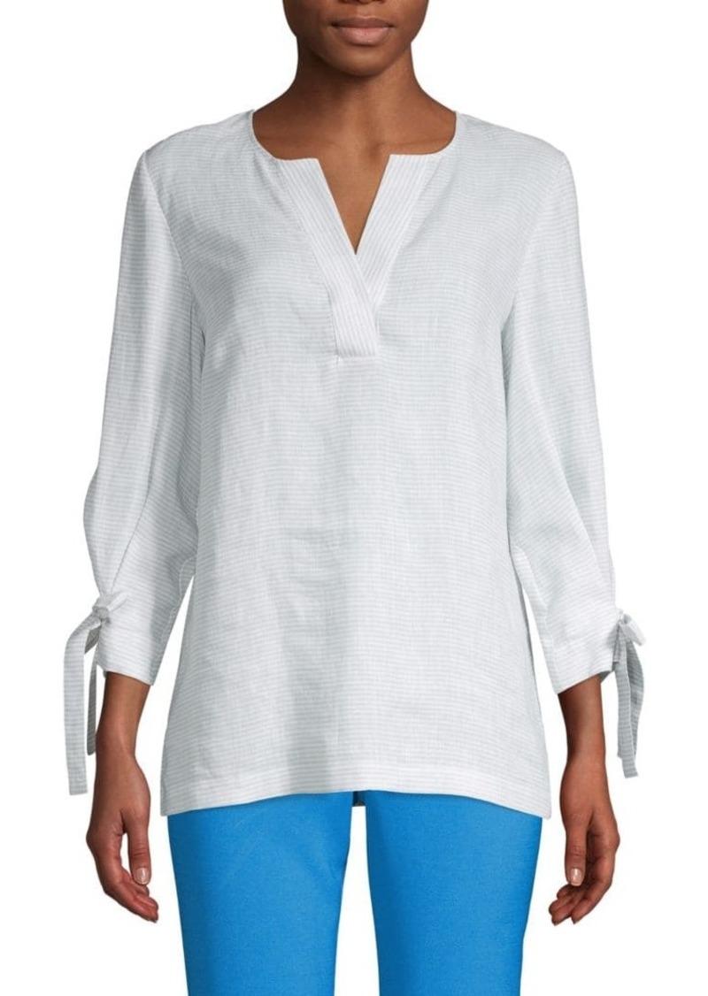 Lafayette 148 Tie-Sleeve Linen Blouse