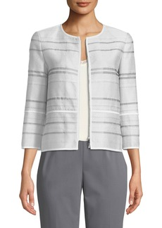 Lafayette 148 Tilda Translucent Striped Cropped Jacket